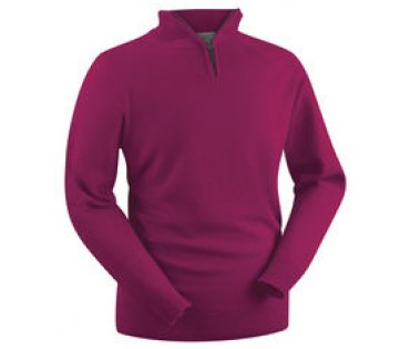Glenbrae Lambswool Zip Neck Sweater Raspberry