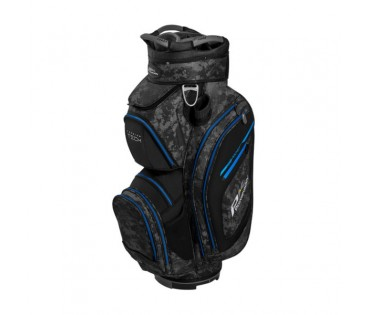 Powakaddy Premium Tech Cart Bag Black  Grey Camo with Blue Trim